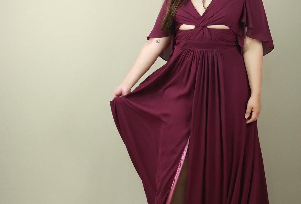 Vestido de Aluguel Longo Liso Vinho 5071 BU
