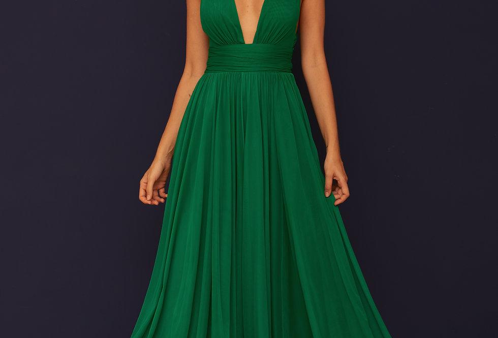 Vestido de Aluguel Longo Liso Verde VE 854 SH 38