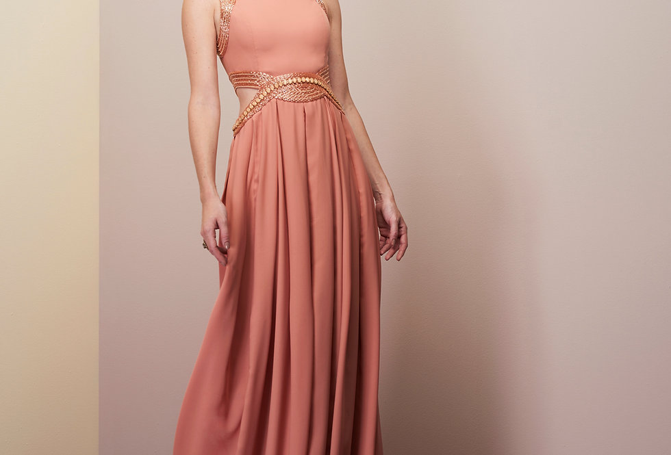 Vestido de Aluguel Rosa Rose Meio Bordado Longo 20347 FD