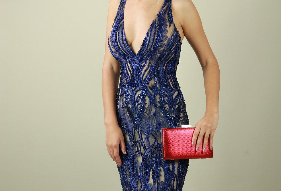 Vestido de Aluguel Longo Azul 36157 GR