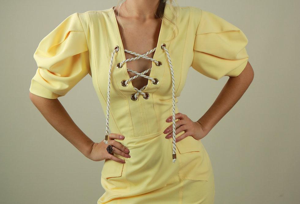 Vestido de Aluguel Curto Amarelo 4789 5094 FD