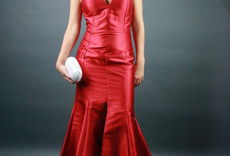 Vestido de Aluguel Longo Liso Vermelho 18936 FD