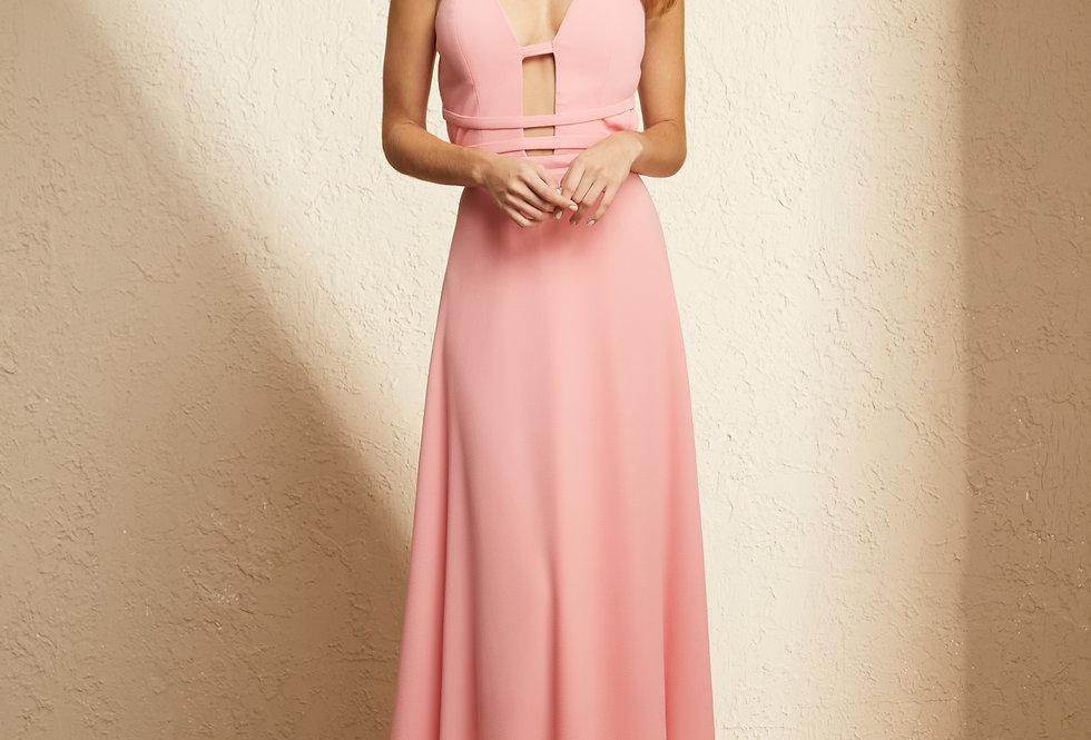 Vestido Rosa Longo Liso 19376 FD