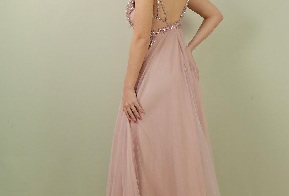 Vestido de Aluguel Longo Rose Bordado  Liso 0050 SP