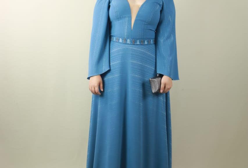 Vestido de Aluguel Azul Longo K639KL