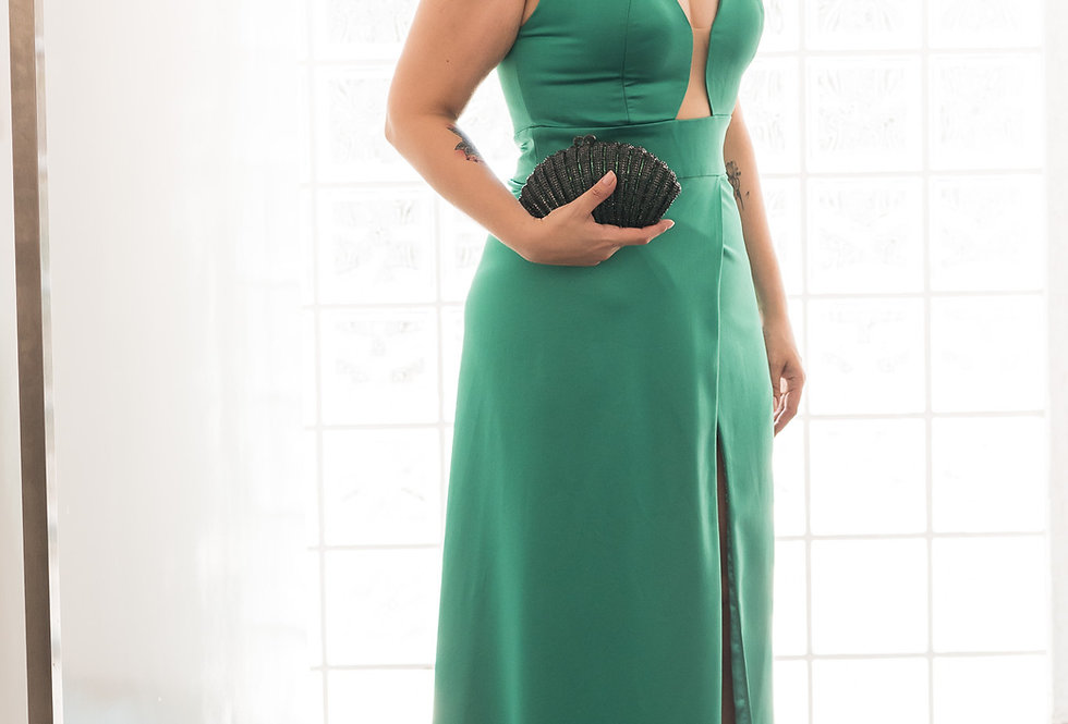 Vestido Verde Longo Liso 18334 FD