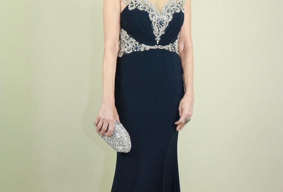 Vestido de Aluguel Azul Longo Eli 5092