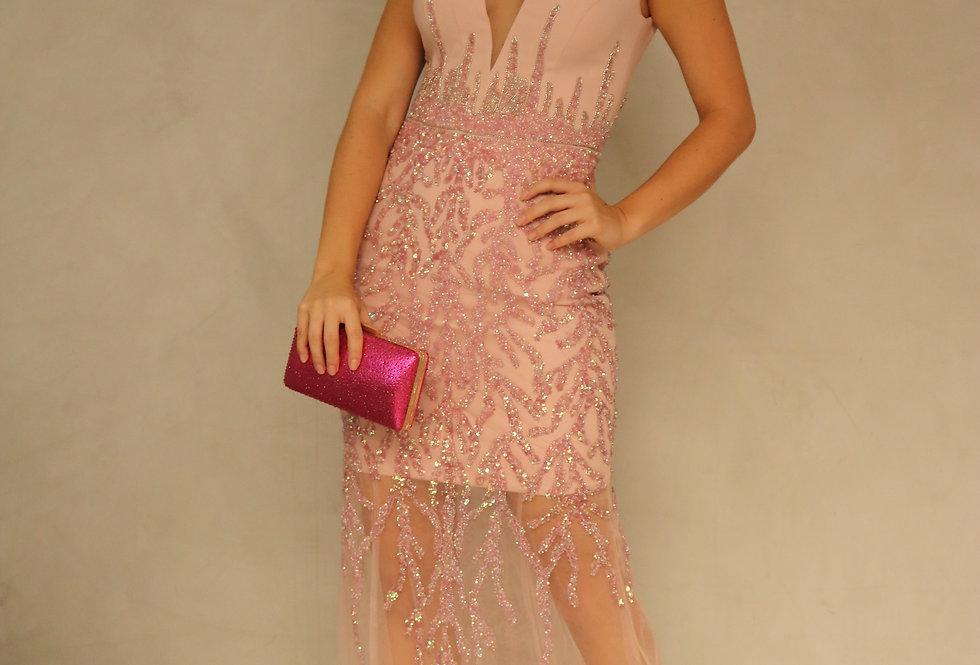 Vestido Rosa Longo Bordado VEV18022 CJ