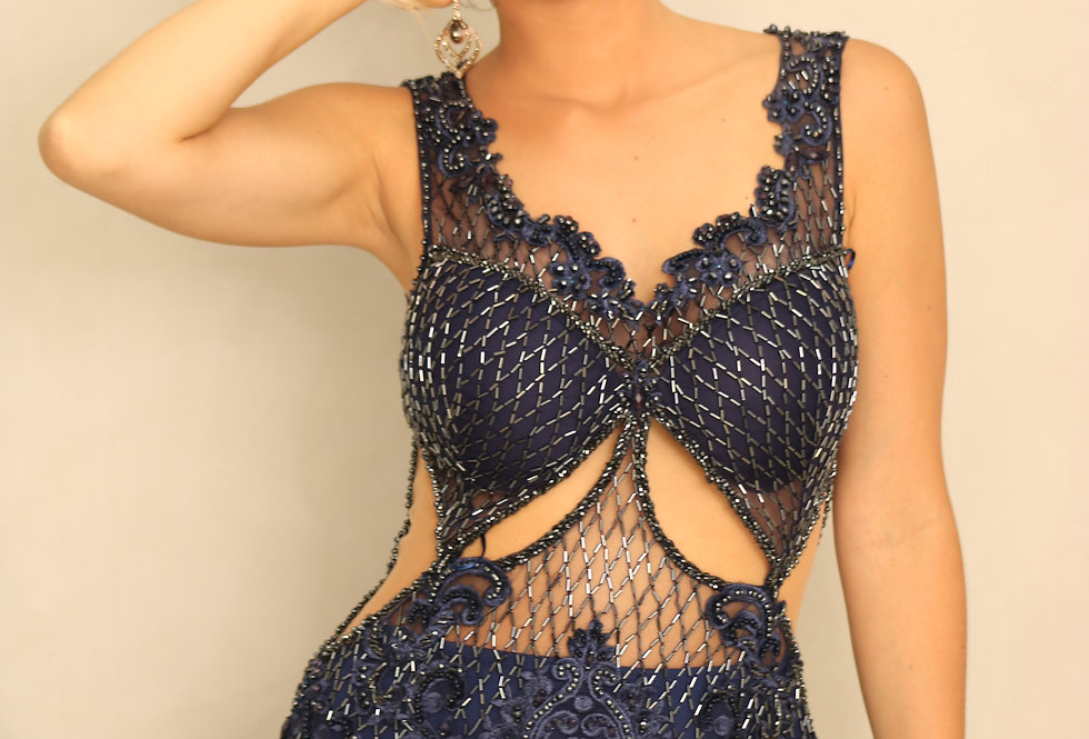 Vestido Azul Marinho Longo Bordado 0117 SP