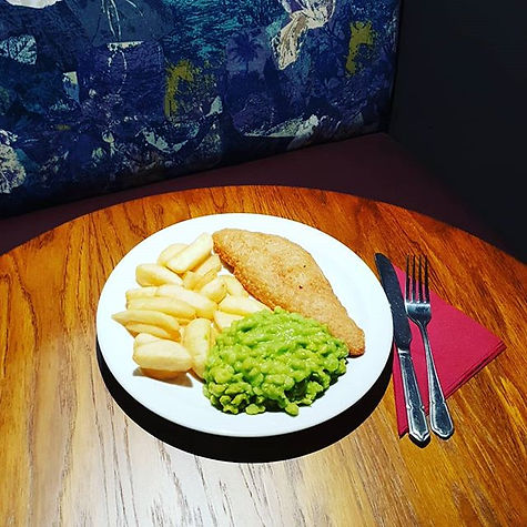 Cod chips and mushy peas of our two for
