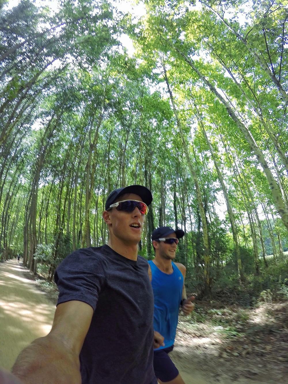 Running on the trails with training partner Jack van Stekelenberg