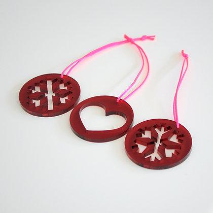 Snowflakes inside | pink/bordeaux