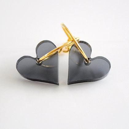 Heart | ø15 guldbelagt/sort