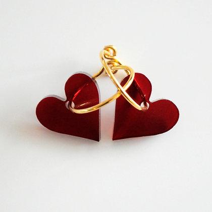 Heart | ø15 guldbelagt/bordeaux
