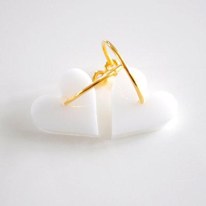 Heart | ø15 guldbelagt/hvid
