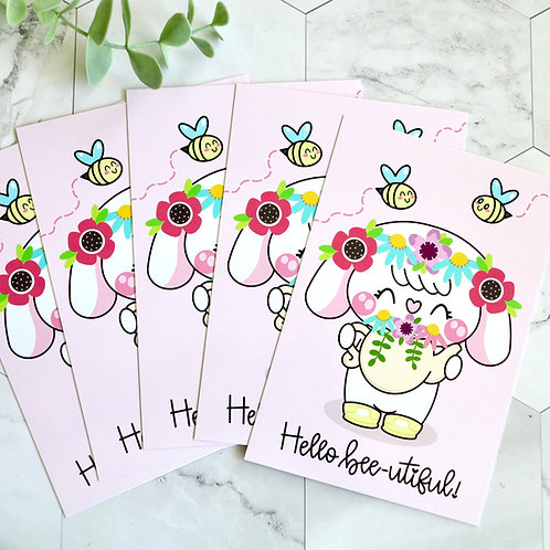 "Bonnie ""Hello Bee-utiful"" 6x4 Postcard (Set of 5)"