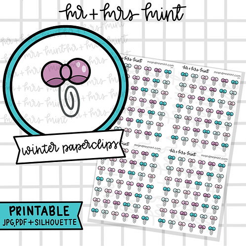 Winter Paperclips | Printable