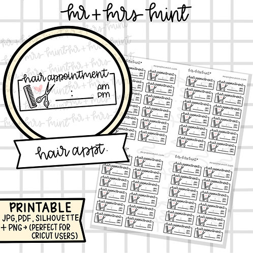 Hair Appointment   Printable