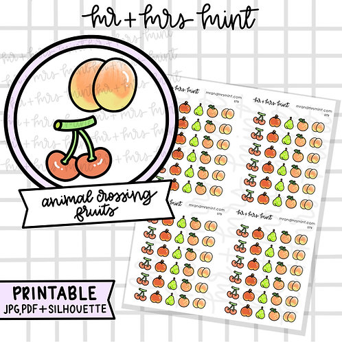 Animal Crossing Game - Fruits | Printable