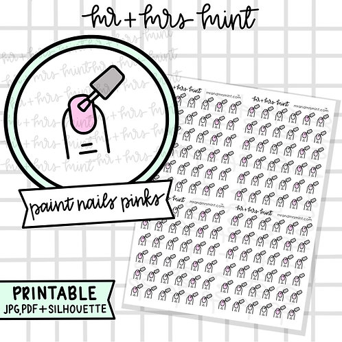Paint Nails Pinks | Printable