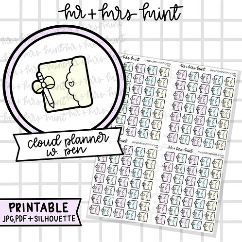 Cloud Planner with Pen | Printable