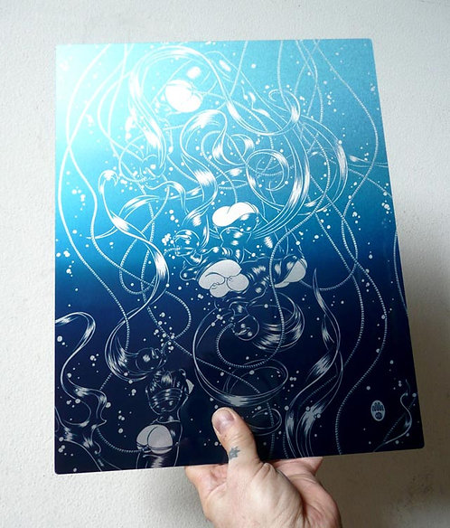 LATEX NAIADS: BLUE Limited Edition Metal Print