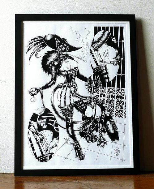 LE CHAT BOTTE´ 02 (PUSS & PET) Original Artwork