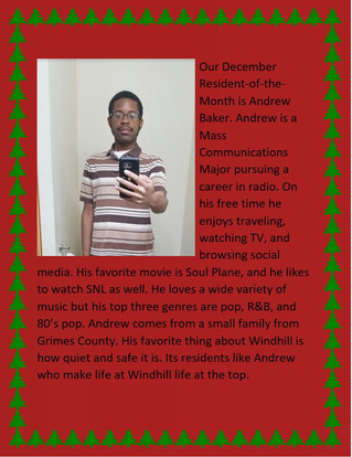 Our December Resident of the Month is Andrew Baker!