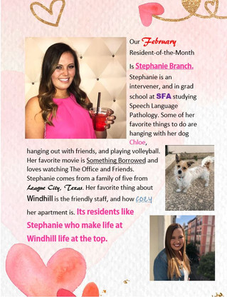 Our February Resident of the Month is Stephanie Branch!❤️❤️