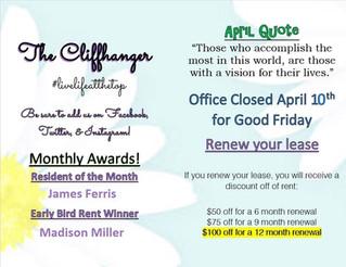 Our April Calendar & Cliffhanger!