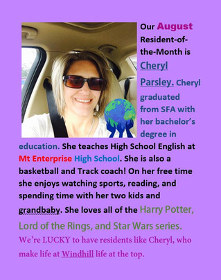 Our Resident of the Month is Cheryl Parsley!