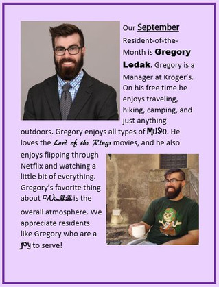 Our September Resident of the Month is Gregory Ledak!
