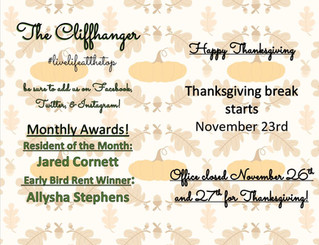 Our November Calendar & Cliffhanger!