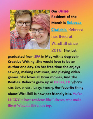 Our June Resident of the Month is Rebecca Chatskis!🌈