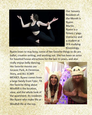 Our January Resident of the Month is Ryann Martin!