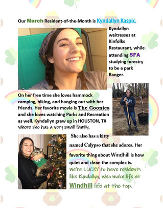 Our March Resident of the Month is Kyndallyn Kaspic!🍀