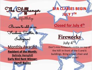 Our July Calendar & Cliffhanger!
