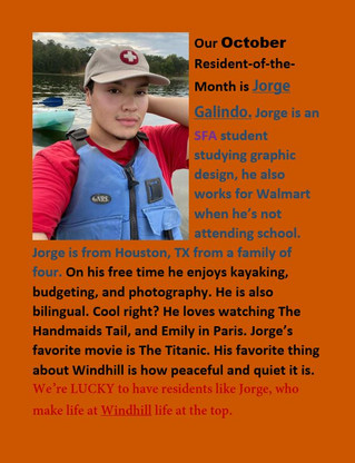 Our October resident of the month is Jorge!