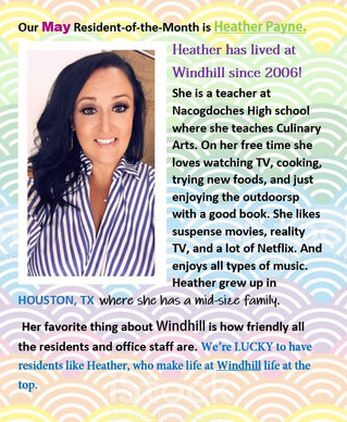 Our Resident of the Month is Heather Payne!☺️