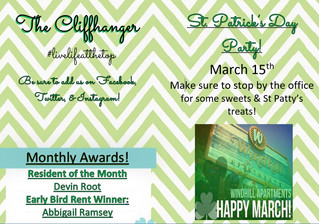 Our March calendar and Cliffhanger!