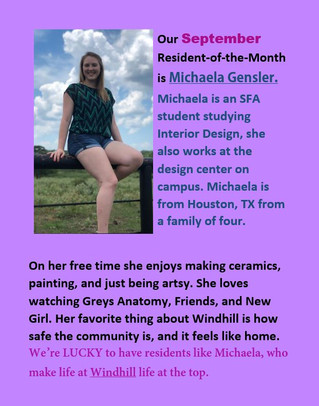 Our September resident of the month!