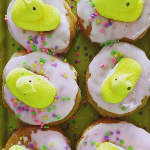 Peep in and take a look at our festive treats! #donuts #njfood #peeps #homemade #easter #yum #njeats