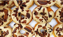 Introducing our new & improved maple bacon donuts topped with _dogwoodfarmsnj bacon!_._