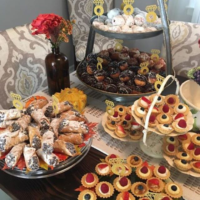 Beautiful dessert table this past weekend for our favorite couple! #homemade #engaged #pastries #njf