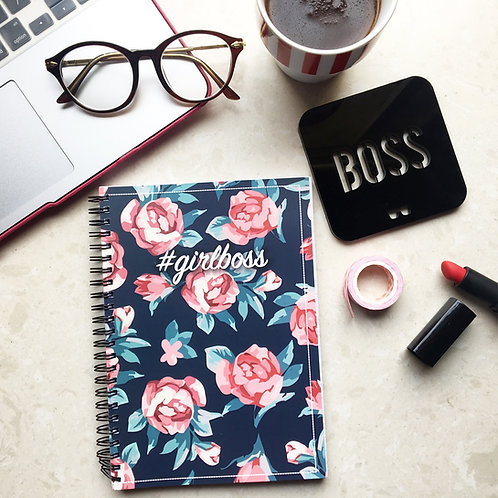 Girl Boss Floral Spiral Notebook