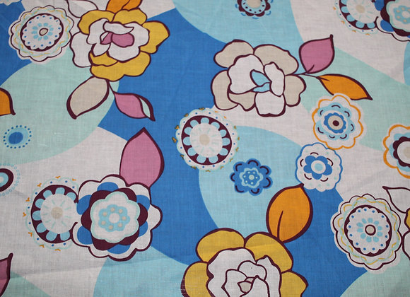 Light Yellow, Blue and Orange Floral Print Cotton