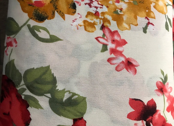 Red and Yellow Floral Rayon Challis