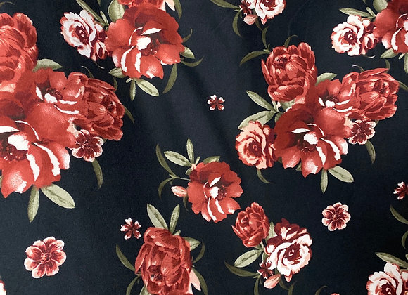 Black and burgundy floral - Bolero two side brush