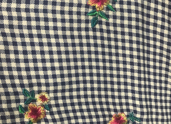Checkered and Embroidered Flower