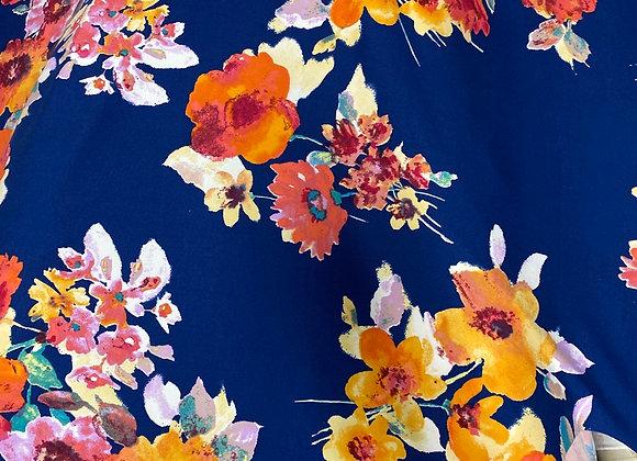Blue large floral- Bolero two side brush